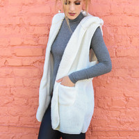 Fuzzy Feelings Ivory Faux Fur Hooded Vest With Pockets
