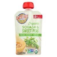 Earth's Best Organic Squash And Sweet Peas Baby Food Puree - Stage 2 - Case Of 12 - 3.5 Oz.