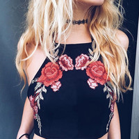 Black Floral Embroidery Crop Tank Top  Flower Print  Black Casual Vest Camis Backless Halter