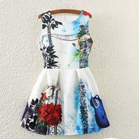 Roses And Guitar Print Pleated Dress