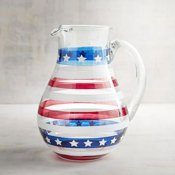 Stars and Stripes Painted Glass Pitcher