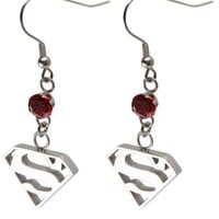 Women's Stainless Steel With Dangle Gem And Superman Design Earrings