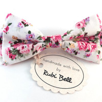 Bow Tie - floral bow tie - wedding bow tie - white bow tie with pink and purple flower pattern - man bow tie - men bow tie - gifts for him