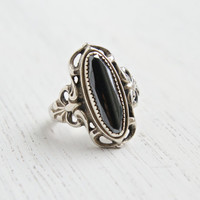 Vintage Sterling Silver Hematite Ring - Signed WM Wheeler Mfg. Co Size 6 1/4 Filigree Jewelry / Gray Marquise Statement