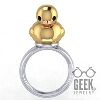 What The Duck?!? Sterling Silver Duck Ring, Gold Duck Ring, Rubber Ducky Ring, Duckling Ring,