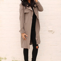 Classic Belted Trench Coat in Khaki
