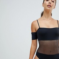 Twiin Black Mesh Cut Out Swimsuit at asos.com