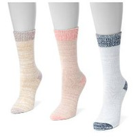 MUK LUKS® Women's 3 Pair Pack Microfiber Boots Socks - Multicolor One Size Fits Most