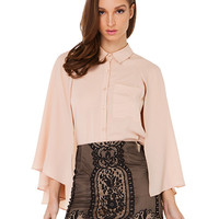 Poncho Long Sleeve Chiffon Blouse With Collar