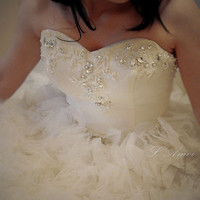 Snow Princess Crystal White Lace Bridal Wedding Ball Gown with Satin Corset Bodice, Custom Made to Order in your size