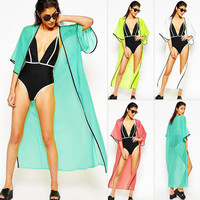 Hot Popular 2017 Trending Fashion Chiffon Black Loose Swimwear Swimsuit Bikini _ 12845