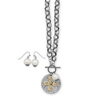 Two Tone Fashion Necklace and Earring Set with Cross Medallion