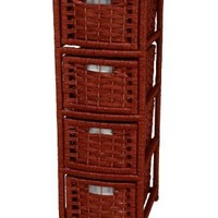 """Oriental Furniture 32"""" Natural Fiber Occasional Chest of Drawers - Mahogany"""