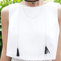Black Choker Necklace, Gold Layering Necklace, Tassel Wrap Necklace, Layered Necklaces, Two Necklaces in One