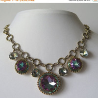 On Sale Vintage Watermelon Rhinestone Heliotrope Necklace * High End Purple Blue Pink Collectible * 1960's Mad Men Mod Vintage Jewelry