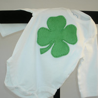 green shamrock St. Patrick's Day one piece for baby boy or girl, green minky shamrock on white bodysuit, hand applique baby clothing