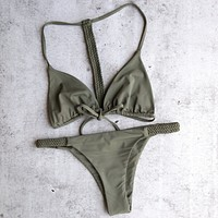 Sunset Paradise Braided Bikini Separates in Olive