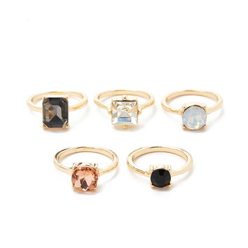 Faux Gemstone Ring Set