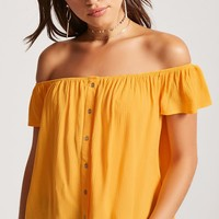 Button-Front Off-the-Shoulder Top