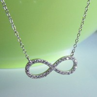 """Sterling Silver CZ Infinity Necklacelace On 16""""+2"""" Cable Chain"""