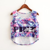 Pink Vest Summer Alphabet Crop Top Bottoming Shirt [11768169487]