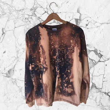 MEDIUM Trashed Longsleeve Bleach Splattered Pocket Tee // Hand-Dyed and Distressed // Bleached Tan Grunge Aesthetic