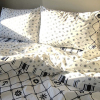 Nautical Twin XL College dorm Bedding 2 pcs -Duvet cover with pillow case -anchor print