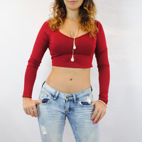 (ane) Long sleeves open back burgundy crop top