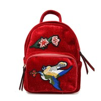 Vintage Velvet Backpacks For Teenage Girls Ethnic Wind Birds Embroidery Small Harajuku Rucksack Zipper Jacquard Mulheres Mochila