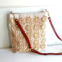 Canvas tote bag with crochet lace, Lace crossbody bag, Crochet lace bag