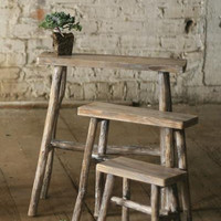 Set of 3 Rectangle Tables with Twig Legs - Whitewash