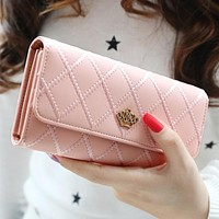 Women Wallets Purses Plaid PU Leather Long Wallet Hasp Phone Bag Money Coin Pocket Card Holder