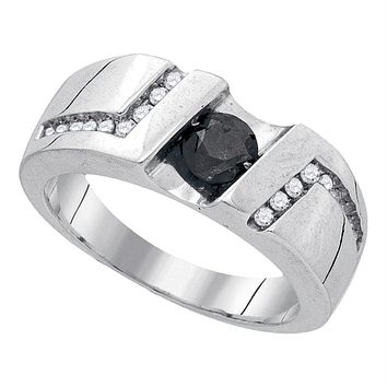 Sterling Silver Black Color Enhanced Round Channel-Set Diamond Men's Masculine Band Ring 1.03 Cttw - FREE Shipping (US/CAN)