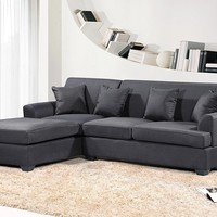 New Century® Linen Modern Adjustable Large Sectional Sofa, Black