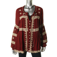Free People Womens Crinkled Embroidered Blouse