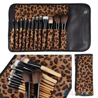 12 PCS Pro Makeup Brush Set Cosmetic Tool Leopard Bag Beauty Brushes = 1645832964