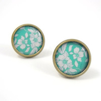 Teal Floral Earring Studs Bronze Teal White by MistyAurora on Etsy