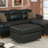 A.M.B. Furniture & Design :: Living room furniture :: Sofas and Sets :: Leather Sofa sets :: 3 pc Sheila modern style reversible ebony bonded leather upholstered sectional sofa with chaise and ottoman