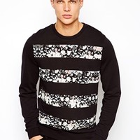 ASOS Sweatshirt With Floral Stripes