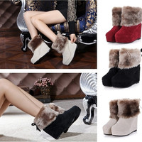 Winter Warm Fur Womens Ankle Boots Lady Increased Shoes Wedge Christmas Snow Boot = 1931579076