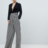Boohoo Tie Waist Striped Wide Leg Pants at asos.com