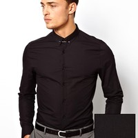 ASOS Smart Shirt in Long Sleeve with Tie Pin