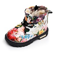 Winter Children Girls Boots with fur Elegant Floral Flower Print Cute Kids Baby Martin Shoes Warm Comfortable Plush Snow Boots