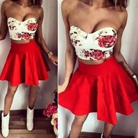 Women Red Floral Print Bra Sweet Plain Plus Size Two Piece Homecoming Cute Party Mini Dress