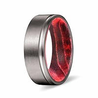 CAIRO Pipe Cut Men's Grooved Tungsten Ring with Black Red Elder Wood Sleeve 8mm