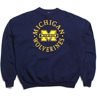 University of Michigan Bar M & Circle Text Crewneck Sweatshirt Navy (XL)