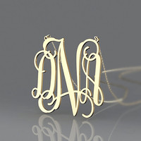 Three initial monogram necklace --personalized 1.5 inch  gold plated necklace for Mother Day