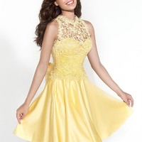 Cocktail Dresses For Cheap 2015 Tarik Ediz Cocktail Dresses A Line Sweetheart Sleeveless Yellow Lace Overlay Fomal Homecoming Dress Covered Button 90419 Mini Length Ball Dresses Online From Amazing_dresses, $123.0| Dhgate.Com