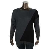 Vince Camuto Womens Ribbed Knit Colorblock Tunic Sweater