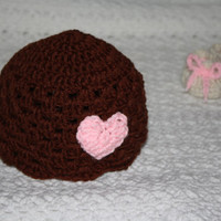 Valentine's Day Brown and Pink Heart Baby Girls Beanie Baby Hat Baby Shower